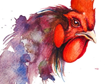 minimalist watercolor print: Cock
