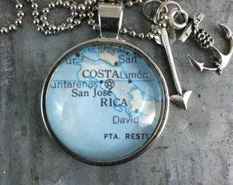 Map Pendant Necklace Costa Rica