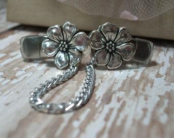 Sweater Clip Sweater Guard Cardigan Clip Delicate Silver Apple Blossom Flower