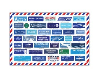 Airmail Sticker Postcard