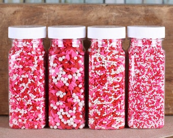 Valentine's Sprinkle Set with Heart Sprinkles, Mini Heart Sprinkles, Valentine's Nonpareils, Jimmies (4 jars)