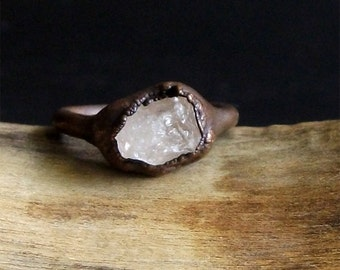 Morganite Copper Gemstone Raw Crystal Ring Beryl Ring Size 4.5 Rough Stone Ring Jewelry Midwest Alchemy