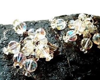 1950's Vintage LAGUNA Crystal Swarovski Glass Dangle Earrings Clip On AB Finish -  Wedding or Glam - NICE