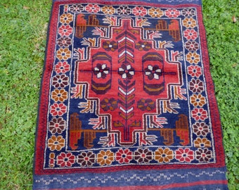 "Rich Red Baluchi rug/kilim from Afghanistan. 4ft 8 "" x 2 ft 8. 142 x 86 cm Hand woven."