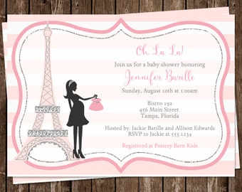 French Baby Shower Invitations, Baby Girl, Pink,  Rose, Stripes, Eiffel Tower, France, Merci, 10 Printed Invites, Oh La La, Customized