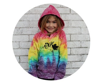 Rainbow Hoodie Screen-printed by hand with a Pegasus Pooping Sprinkles, Mythical Creature, Hooded Sweatshirt, Youth Clothing Alicorn Unicorn