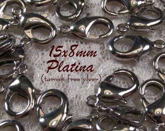 15mm Brass Lobster Claw Clasp (lead and nickel free) - Platina(tarnish free silver) - 6 pcs : sku 08.24.12.14 - C21