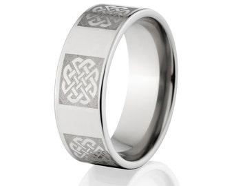 Custom Lasered Celtic Ring Made In Titanium Custom Titanium Rings : 8F-C6L