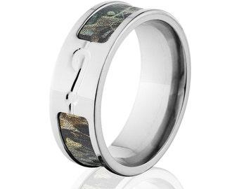 Timber Camo Rings, RealTree Camo Rings, Camo Wedding Bands, Fishhook Rings: 8F-Timber-FishHook