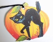 Retro Pumpkin Tags - Halloween Tags - Gift Tags - Set of 3 - Black Cat Tags - Pumpkin And Cat - All Hallows Eve - Orange And Black - Cat Tag