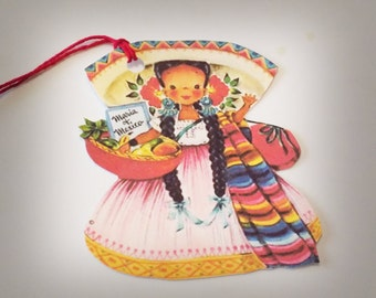 Mexican Doll Tags - Set Of 3 - Retro Mexican Tags - Cinco De Mayo - Gift Tags - Mid Century Tags - Maria Of Mexico - Vintage Look Tags