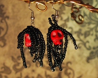 Red Skull Day of the Dead Earrings for Dia de los Muertos Rasta Dreadlock Halloween Dangle Zombie Skeleton Gothic Costume