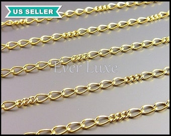 1 meter unique curb chains, 16K gold plated brass chains, designer style chains, gold chain supplies B090-BG