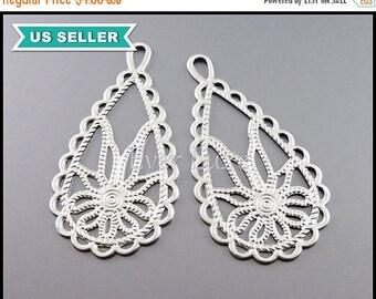 15% OFF 4 floral print teardrop pendant, flower pendant / silver filigree findings 1961-MR