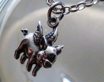 Small Flying Pig - Sterling Silver Charm & Sterling Silver Chain