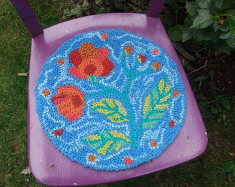 Chair cushion, seat pad, folk art,upcycled cushion,seat cushion,flower cushion,chair pad,rag rug,recycled,eco friendly
