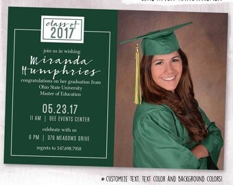 DIGITAL or PRINTED, Photo Graduation Card, grad announcement, graduation invite, typography, photograph, custom text, custom color