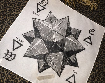 "Sacred geometry Pentagram pentahedron MEGA 22"" Crystal Grid alter cloth bandana  Sacred Geometry 100% cotton free ship in the USA"