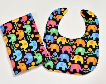 Baby Girl Bib Gift Set Baby Burp Cloth, Infant Burp Cloth, Colorful Elephants, Nursing, Baby Drool Bib, Baby Gift Baby Accessories
