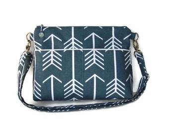 Gray Canvas Zippered Crossbody Bag - Medium Messenger Purse - Cross Body Purse - Outside Pockets - Zipper Closure Handbag - Shoulder Bag