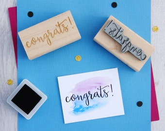 Congrats Sentiment Text Rubber Stamp  Lucky Stamper - Best Wishes - Celebration - Card Making - New Job - Exams - Graduation - Script Font