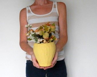 Yellow Vase / yellow  home decor / butter yellow Vase / Flower vase