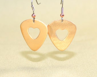 Bronze guitar pick earrings with heart cut outs - ER212