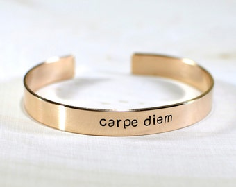 Bronze Carpe Diem Cuff Bracelet with Inspiration to Seize the Day - BR010