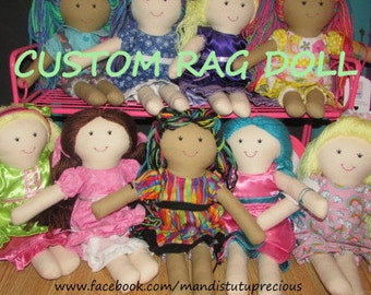 Custom Doll, Handmade Rag Doll, Soft Doll, Rag Doll, Fabric Doll, Cloth Doll, Yarn Hair, Heirloom Doll, Girl Gift, Doll, Made to Order