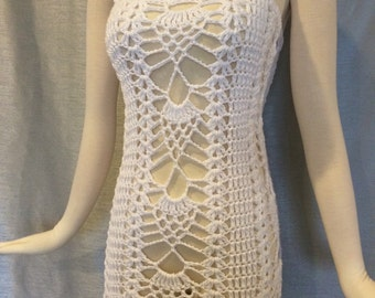 Womens Crochet White Dress