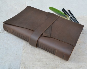 Brown Leather Sketchbook / Large Leather Journal / Oil Tanned Leather