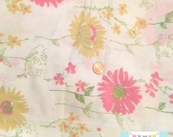 Twin Vintage Fitted Sheet with Pink and Yellow Flowers