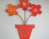 Metal art flower pot wall sculpture recycled metal kitchen bathroom wall decor red orange yellow 10 x 13