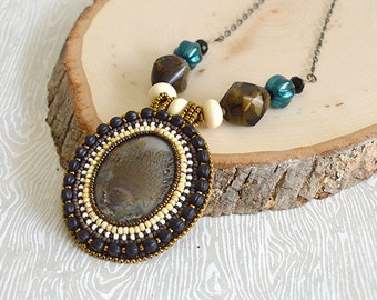 Moss Agate Bead Embroidery Necklace. Matte Black. OOAK. Stone Cabochon. Victorian. Memento Mori. Beadwork. Handcrafted. Artisan Jewelry