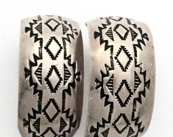 Beautiful Navajo Stamped Sterling Silver Vintage Hoop Earrings  Singed Native American Jewelry