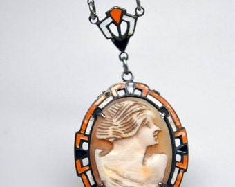 CIJ Christmas July SALE RARE Art Deco Carved Coral Shell Cameo Hand Painted Enamel Sterling Silver Vintage Necklace Art Deco Jewelry