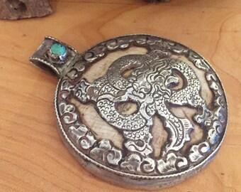 Beautiful old Tibetan Silver Dragon Turquoise OxBone Vintage Antique Pendant