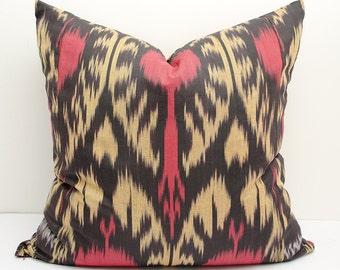20x20 red cream black ikat pillow cover, ikat pillows, ikat cushion cases, pillows, throw pillows, accent pillows, decorative cushions ikats