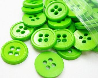 """1/2"""" (13 mm) buttons, Grass Green, Qty 75"""