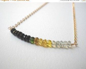 Tourmaline Bar Necklace - Gold Filled Ombre Beaded Necklace Green Gold and Mint Tourmaline Beadwork Necklace