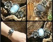 Sterling Silver and Labradorite Cuff Bracelet with Daffodil Accents