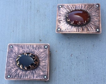 Smoke & Flame Hammered Copper Belt Buckle with Black Onyx