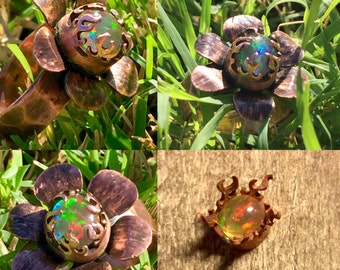 FireFlower Copper Ring with Mexican Fire Opal