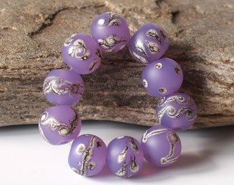 Purple Lampwork Glass Beads, Lavender SRA Lampwork Bead Set (10)