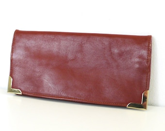 Vintage Fold Over Sienna Brown Leather Clutch with Metal Corners