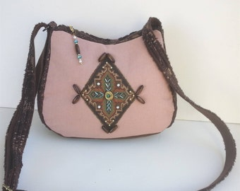 Beaded Crossbody bag purse / Native American / Boho / Hippy /minimalist/ small / cute unique purses/ Vegan Handbag, Item #CJF77-1026
