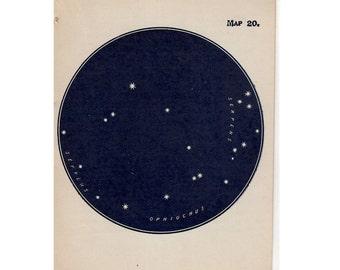 1910 mini constellation figures original antique celestial astronomy print -  map 20