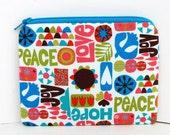 Small Zippered Pouch Bag, Coin Purse, Nod to Mod, Retro Peace Love Joy