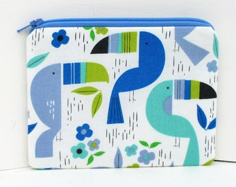 Toucan Zoo in Cool Blue, Small Zipper Pouch, Coin Purse