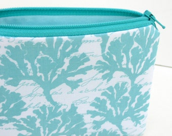 Small Zippered Pouch Bag, By The Sea Coral Fans, Marina Aqua